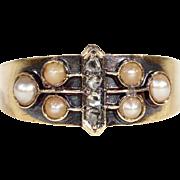Antique 15k Victorian Diamond and Pearl Ring, Hallmarked Birmingham c. 1900