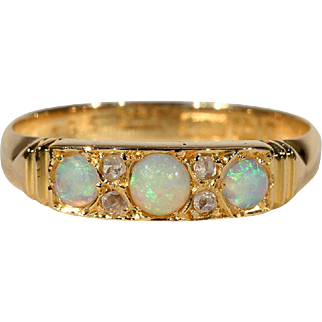Antique Victorian Opal and Diamond Ring, Hallmarked 1897