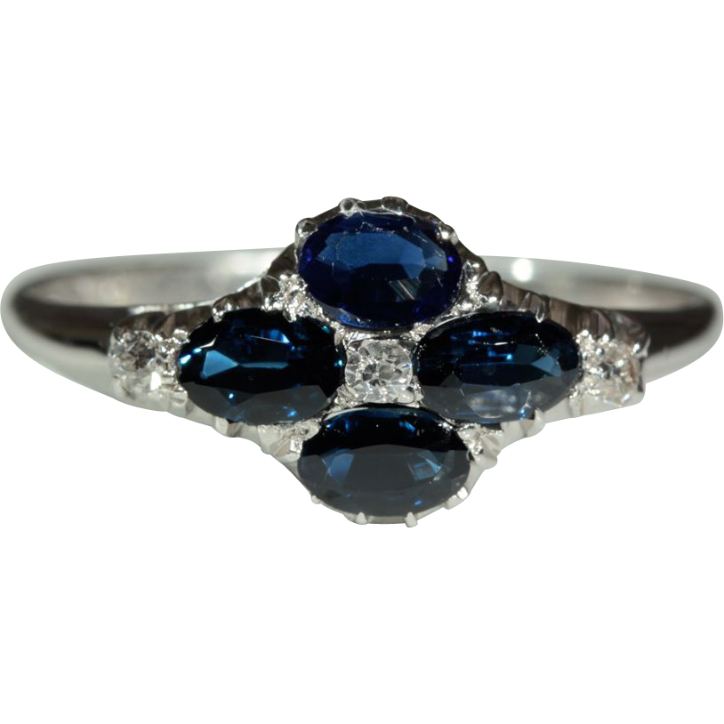 Antique 18k Edwardian Sapphire and Diamond Ring Hallmarked Birmingham c.1910, *VIDEO*