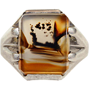 Arts and Crafts Rectangular Picture Agate with Sterling Silver Mount
