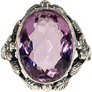 Vintage 7+Ct Oval Faceted Amethyst in Leaf and Flower Silver Ring made in England