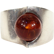 Modernist Amber Silver Ring NE From