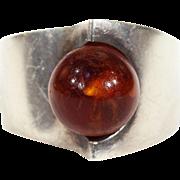 Modernist Amber Silver Ring NE From