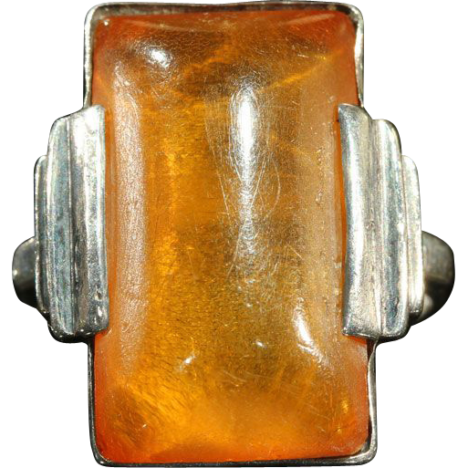 Vintage Art Deco Amber & Silver Ring