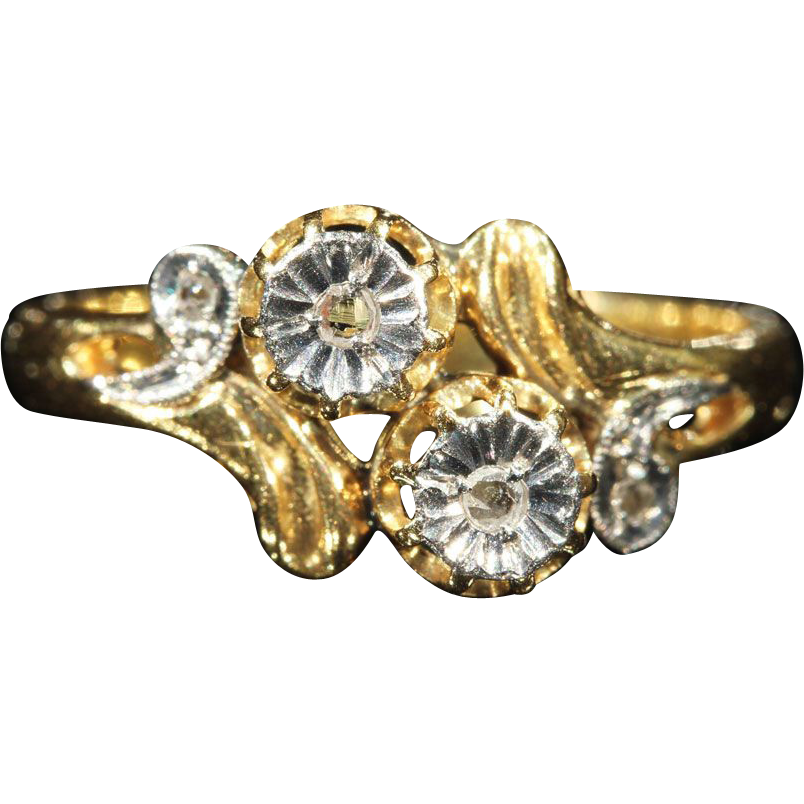 Antique French Diamond, Gold and Platinum By-pass Engagement Ring