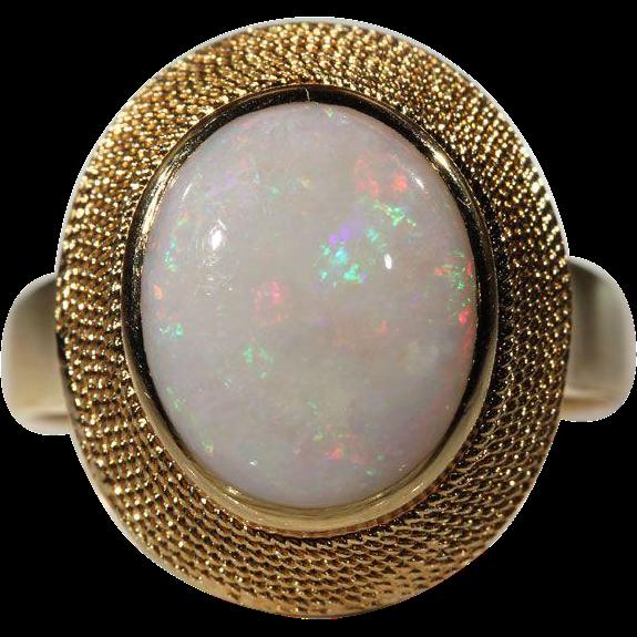 Vintage Opal & 18k Gold 1960's Cocktail Ring