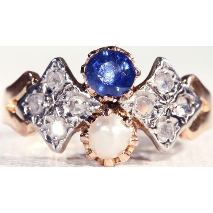 Antique Sapphire, Pearl and Rose Cut Diamond Ring, 18k & Platinum c. 1905