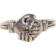 Antique Victorian Silver Fede or Gimmel Ring with Hands Clasping a Hidden Heart