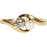 Antique French 'Toi et Moi' Bypass Ring with Pearl and Diamond