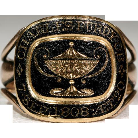 Antique Georgian Black Enamel Mourning Ring with Urn Motif, 18k Gold