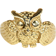 Vintage Owl Ring in 18k Gold, European