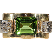 Vintage Retro Peridot and Diamond Ring, 18k Gold, *VIDEO*
