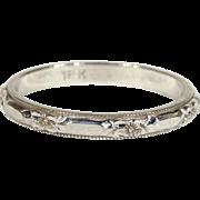 Vintage 18k White Gold Wedding Band Ring, Size 7.625 US