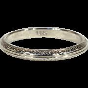 Vintage 18k White Gold Wedding Band Ring, Size 6.125 US