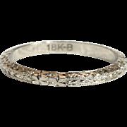 Vintage 18k White Gold Wedding Band Ring, Size 4.625 US