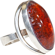 Vintage N.E. From Amber Silver Ring Danish