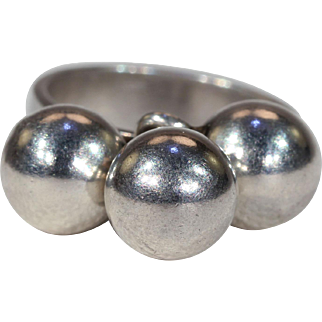 Mid-Century Modern Silver Spheres Ring by N.E. From