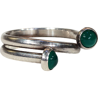 Mid-Century Modern Silver Chalcedony Ring by N.E. From
