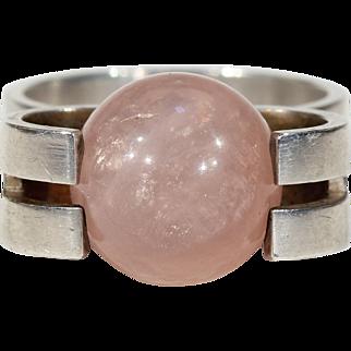 Mid-Century Modern Pink Quartz Silver Ring by Kupittaan Kulta Oy