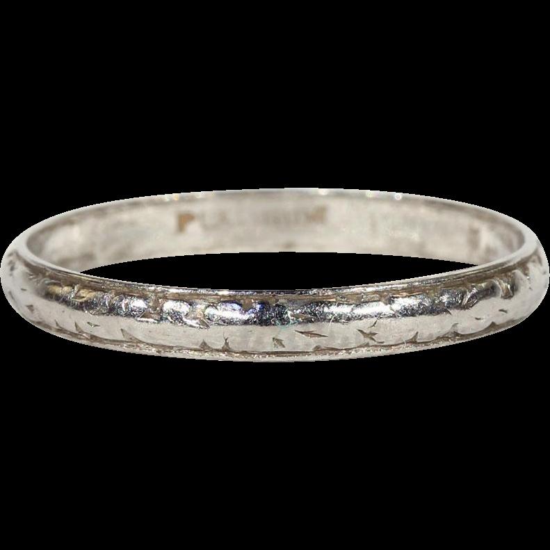 antique edwardian platinum wedding band ring size 8 75 us
