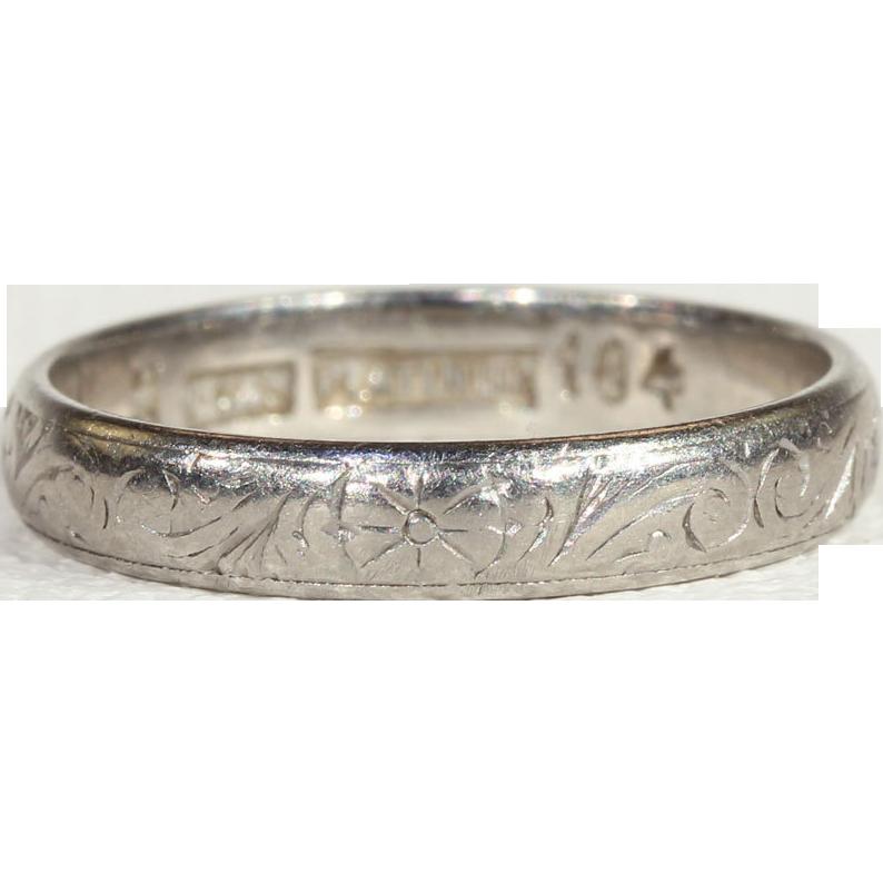 antique edwardian engraved platinum wedding band size 6 5