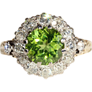 2ct Peridot and 1ctw Diamond Cluster Halo Ring in 18k Gold, *VIDEO*