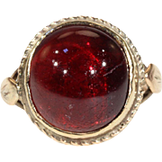 Antique Victorian Cabochon Garnet Ring in 9k Gold