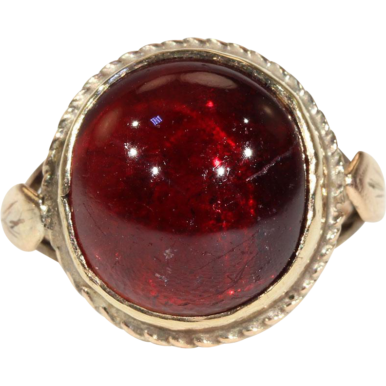 Antique Victorian Cabochon Garnet Ring In 9k Gold From