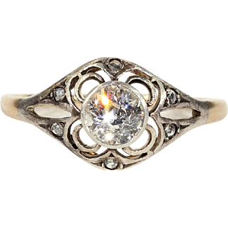 Antique Victorian Diamond Solitaire Engagement Ring in 14k Gold and Silver