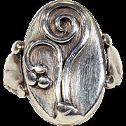 1950s Scandinavian Silver Floral Ring