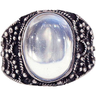 Vintage Moonstone and Silver Ring