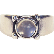 Antique Arts & Crafts Silver and Moonstone Ring