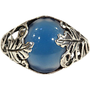 Antique Arts & Crafts Silver Leaf Ring set with Blue Chalcedony