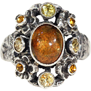 Antique Arts & Crafts Citrine and Silver Ring by Zoltan White & Co., c. 1910
