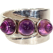 Vintage Ring by David Andersen with 3 Amethyst in Silver