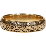 Antique Engraved Wedding Band Ring 18k Gold Hallmarked 1902