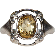 Antique Murrle Bennett & Co. Arts & Crafts Citrine Silver Ring
