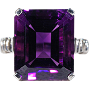 Vintage Art Deco Deep Purple Amethyst Platinum Ring