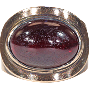 Georgian Cabochon Garnet Memorial Ring Dated 1800