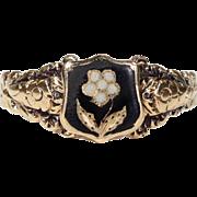 Antique Memorial Ring Enamel Forget-me-not Flower Inscribed 'James Potter'