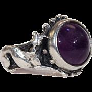 Vintage Cabochon Amethyst Dog Ring Silver