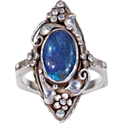 Antiques Arts & Crafts Silver Black Opal Ring