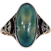 Vintage Art Deco Chalcedony Ring Onyx Paste