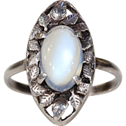 Antique Arts & Crafts Silver Moonstone Ring