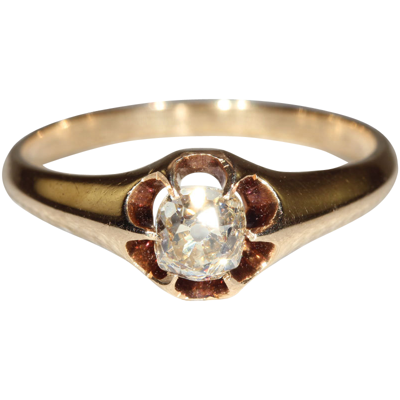 Antique Cushion Cut Yellow Diamond Solitaire in 14k Gold, *VIDEO*