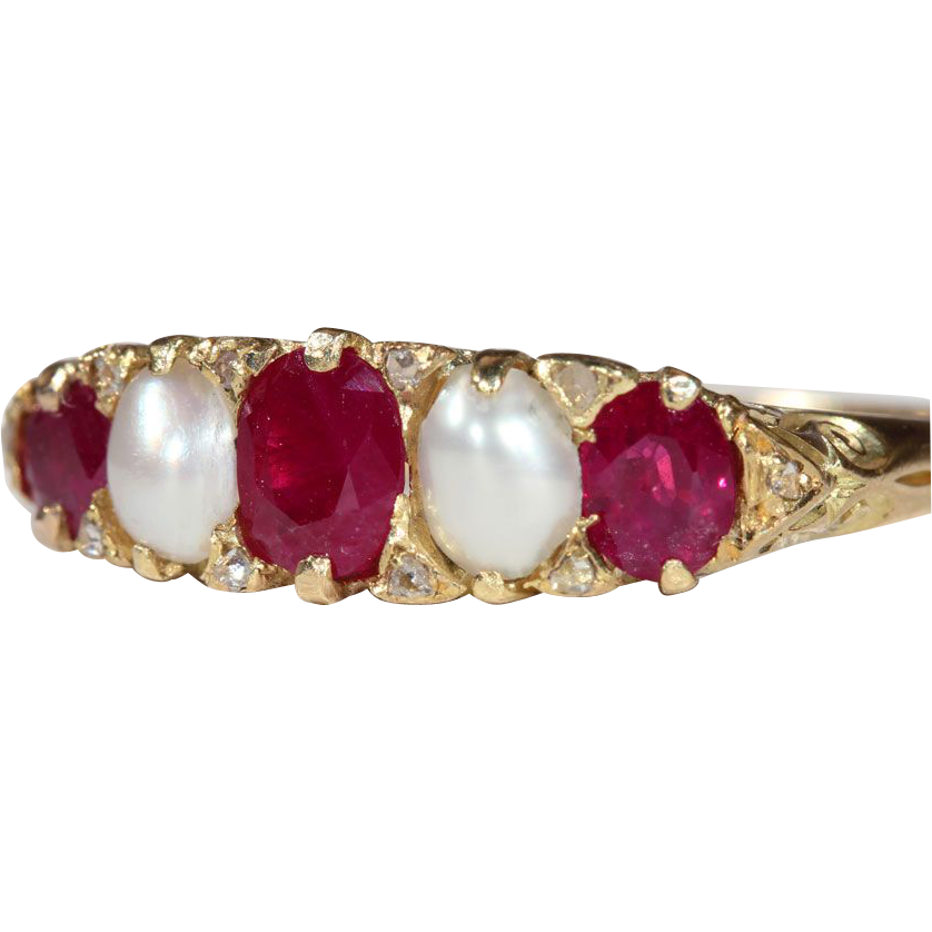 Antique Victorian 18k Gold Ruby Amp Pearl 5 Stone Ring With
