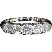 Fantastic Vintage 5 Stone Diamond Ring in Platinum, 1ctw, c.1950, *VIDEO*