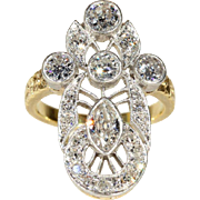 Early Art Deco Long Diamond Ring 18k Gold and Platinum