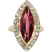 Edwardian Navette Pink Tourmaline Diamond Gold Ring