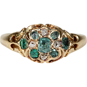 Antique Early Victorian Emerald and Diamond Ring